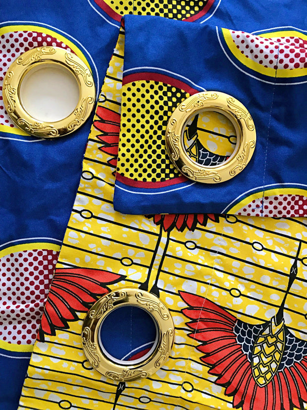 Jayde African Print Double Sided Grommet Top Curtains - Blue & Yellow - Afrilege