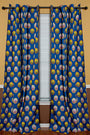 African Print Double Sided Grommet Top Curtains- Yellow/ Blue/ pink - Afrilege