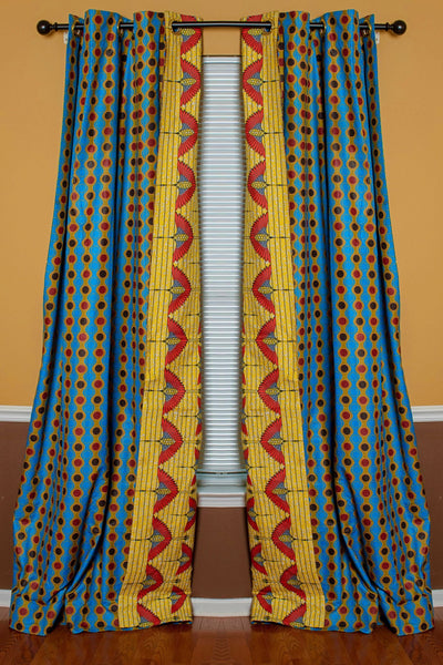 Double Sided Reversible Grommet Top African Print Curtains - Yellow/ Blue/ Red - Afrilege