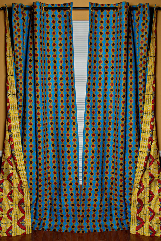 Malaika Double Sided Reversible Grommet Top African Print Curtains - Yellow/ Blue/ Red - Afrilege