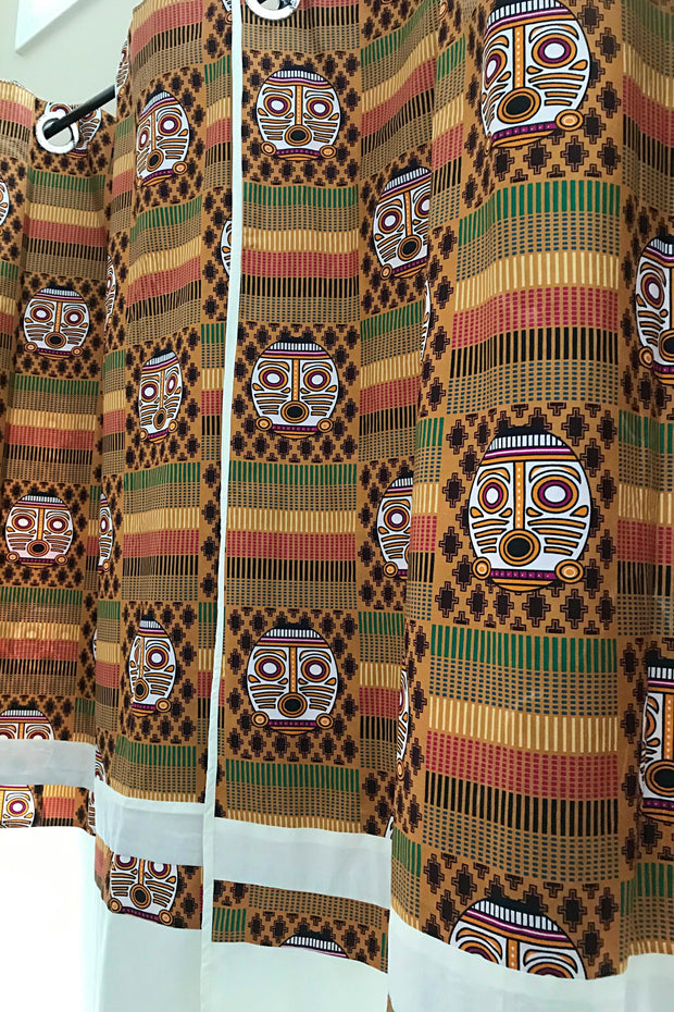 Afritude African Print Grommet Top Curtains- Brown/ Off-white - Afrilege