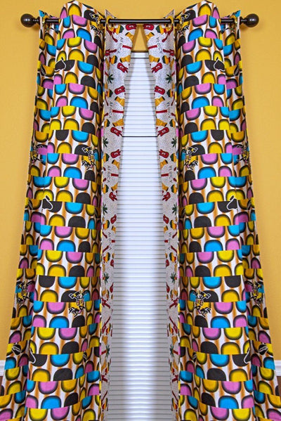 Jamai Double Sided Reversible Grommet Top African Print Curtains - Yellow/ Blue/ Red - Afrilege