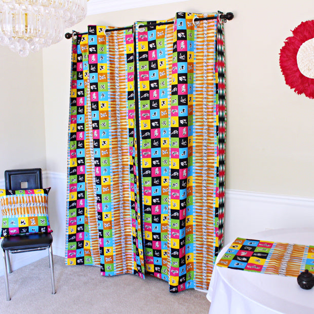 Lulu Double Sided Reversible Grommet Top African Print Curtains - Yellow/ Blue/ Red - Afrilege