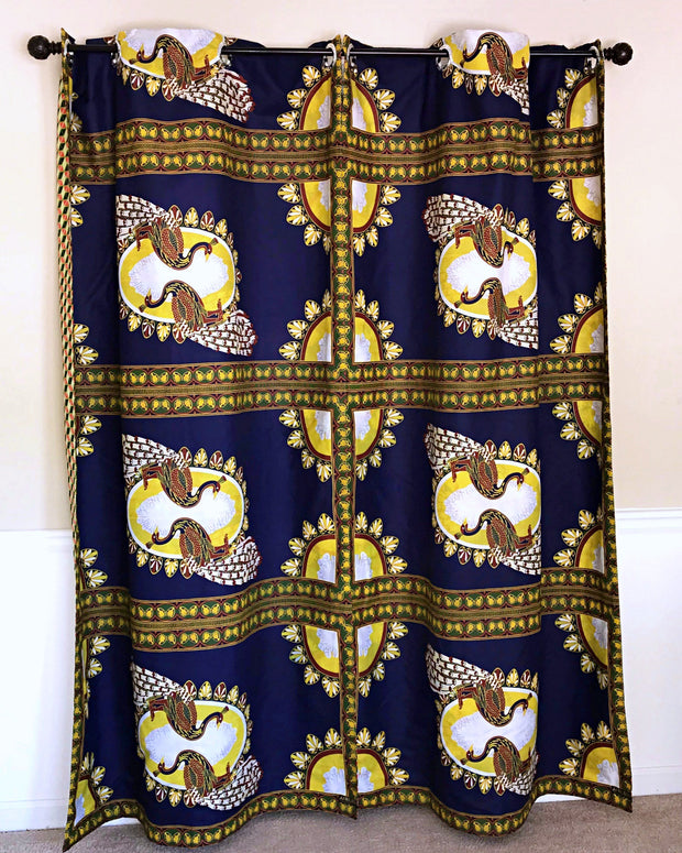 Morowa Double Sided Reversible Grommet Top African Print Curtains - Yellow/ Blue/ Red - Afrilege