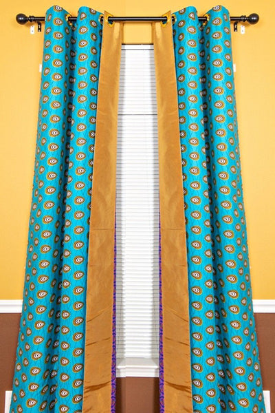 Nubia Grommet Top Reversible African Print Curtains - Green / Purple & Gold - Afrilege