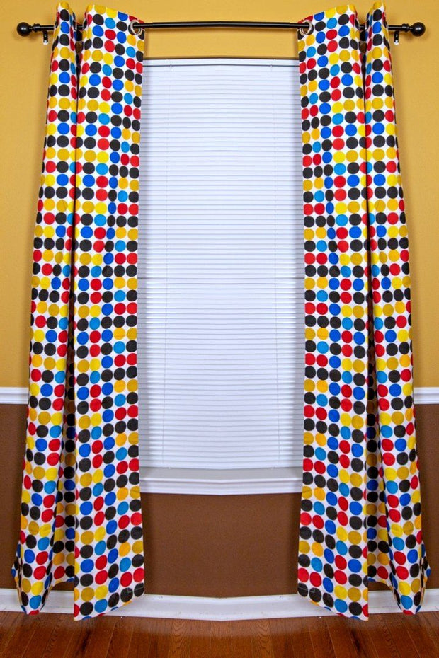 Penina Double Sided Reversible Grommet Top African Print Curtains - Yellow/ Blue/ Red - Afrilege