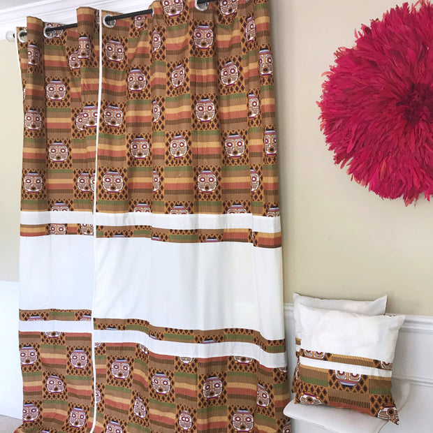 Salama Afritude African Print Grommet Top Curtains- Brown/ Off-white - Afrilege