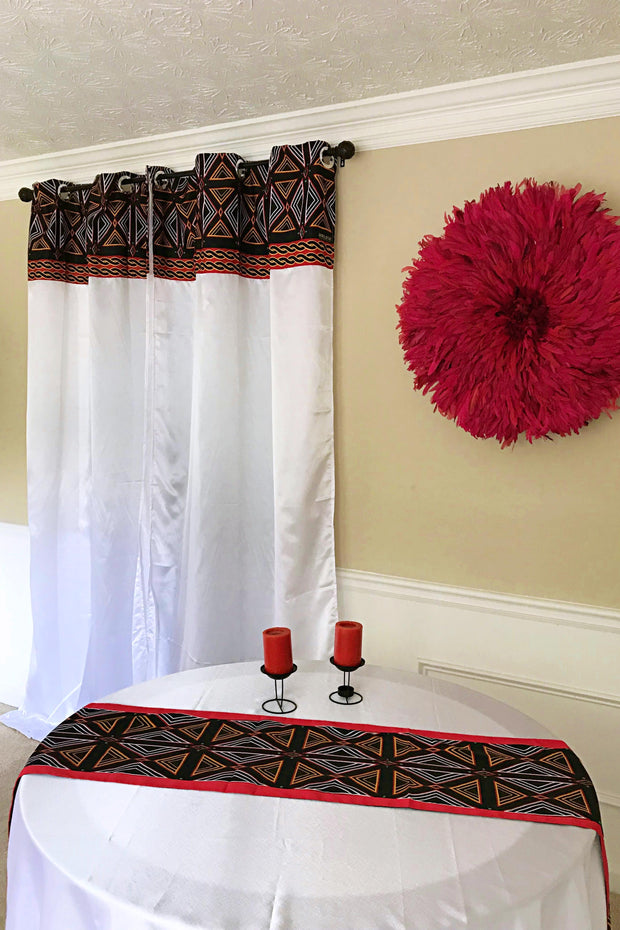 Toghu Bamenda Grommet Top African Print Curtains - White, Red & Black - Afrilege