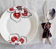 Bamenda Toghu African Print Cutlery Wraps Decorative Holders - Black & Red - Afrilege