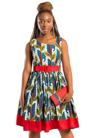 African Print Ayana Midi Dress ( white / Red) - Afrilege