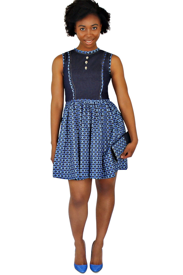 Afia African Print Denim Midi Dress - Blue - Afrilege