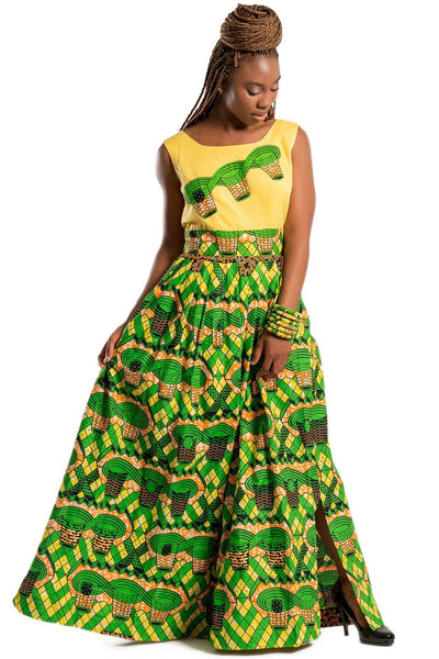 African print Monifa Maxi Dress (Yellow / Green) - Afrilege