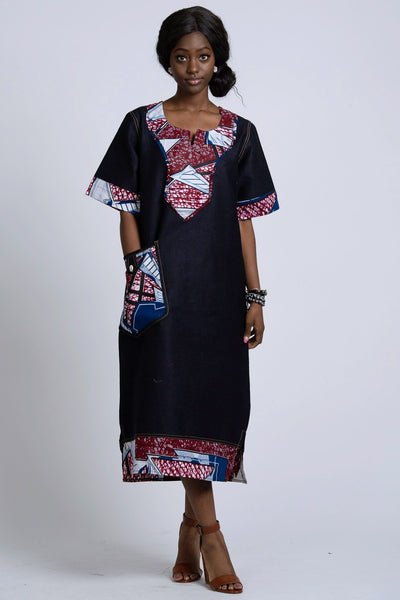 Akaba Denim African Print Dress - Afrilege