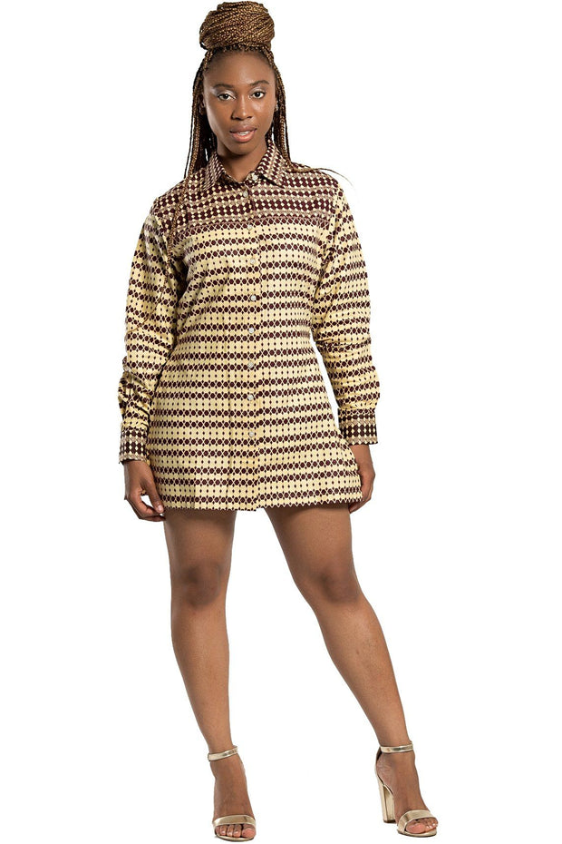 Aveye African Print Shirt Dress (Brown) - Afrilege