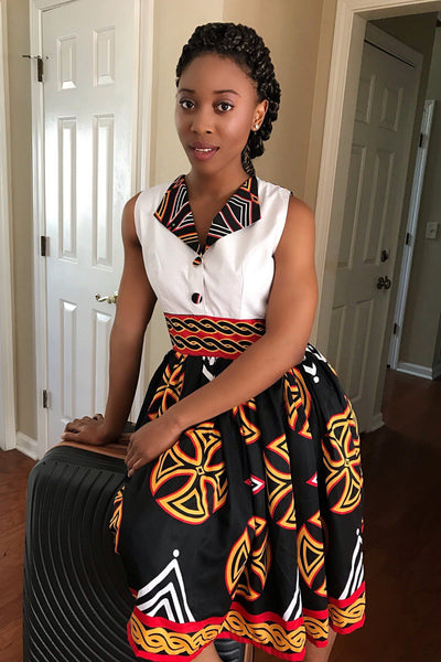 Bamenda Toghu African Print Midi Dress (Black/ White/ Red) - Afrilege