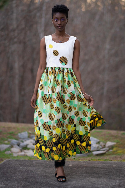 Gueye African Print Maxi Dress (White/ Yellow / Green) - Afrilege
