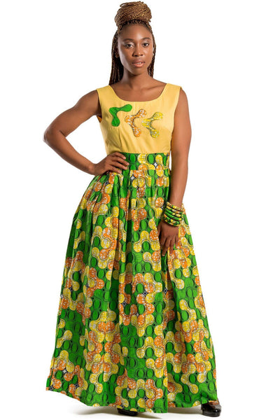 Nakato African Print Maxi Dress (Yellow / Green) - Afrilege