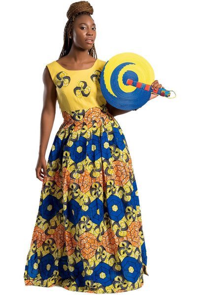 Dress - Nontle African Print Maxi Dress (Yellow / Orange/ Blue)