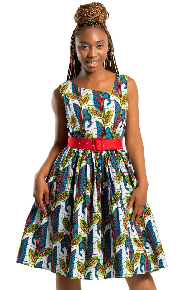 Sacnite African Print Floral Midi Dress - White / Blue/ Red - Afrilege