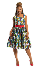 Dress - Sacnite African Print Midi Dress - White / Blue/ Red