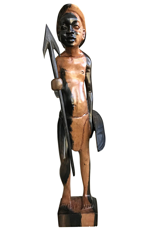 Ebony Hand Carving African Figurines statues / Fulani warrior holding arrow and shield - Afrilege