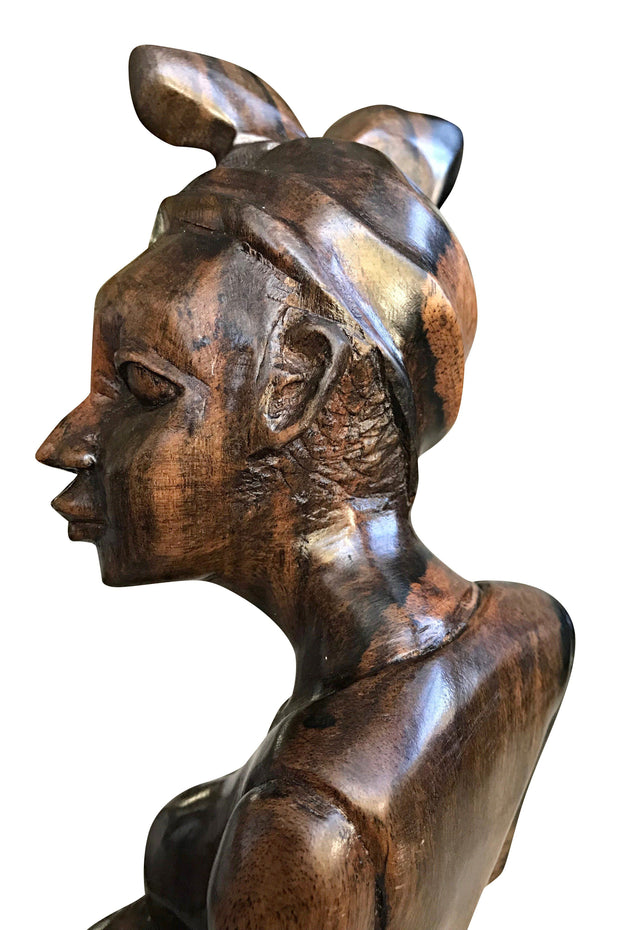 Ebony Hand Carving African Figurines statues / Woman wearing headwrap, holding an empty jar and a foot on another jar - Afrilege