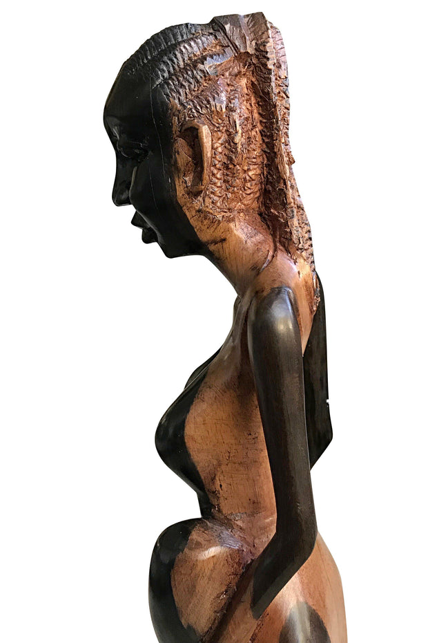 Ebony Hand Carving African Figurines statues / Woman with cornrows holding an empty jar and another jar at her feet - Afrilege