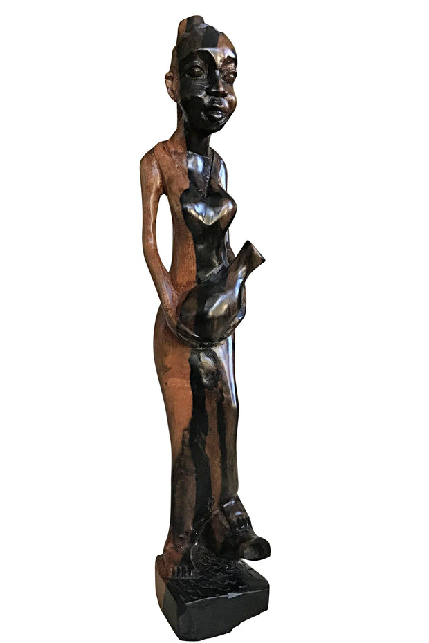 Ebony Hand Carving African Figurines statues / Woman with cornrows holding in her arms a jar and stepping foot on another jar - Afrilege
