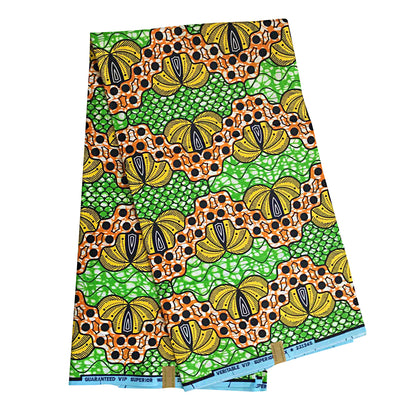 100% Cotton African patchwork Fabric (6 yards) - Green / Orange / Yellow - Afrilege