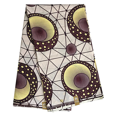 100% Cotton African Print Fabric (6 yards) - Beige / Brown / Yellow - Afrilege
