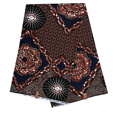 100% Cotton African Print Fabric (6 yards) - Brown - Afrilege