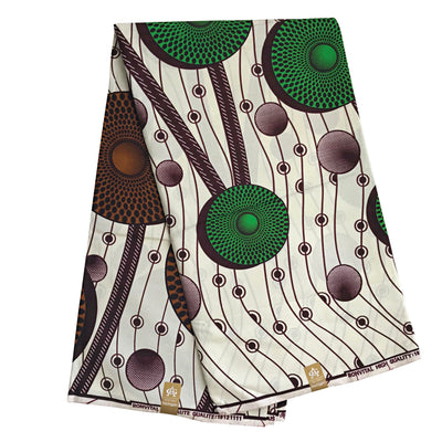 100% Cotton African Print Fabric (6 yards) - Brown / Green / Beige - Afrilege