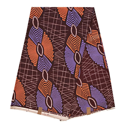 100% Cotton African Print Fabric (6 yards) - Brown / Orange / Purple - Afrilege