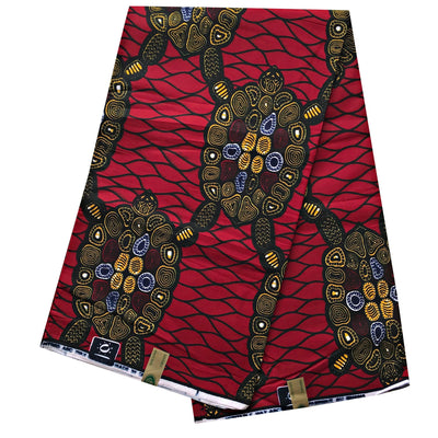 100% Cotton African Print Fabric (6 yards) - Red - Afrilege