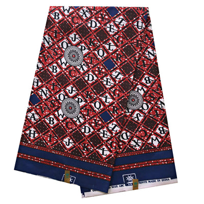 100% Cotton African Print Fabric (6 yards) - Red / Blue - Afrilege