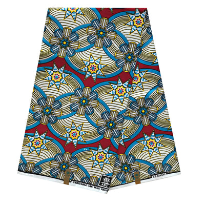 100% Cotton African Super Wax Fabric (6 yards) - Blue / Red / Yellow - Afrilege