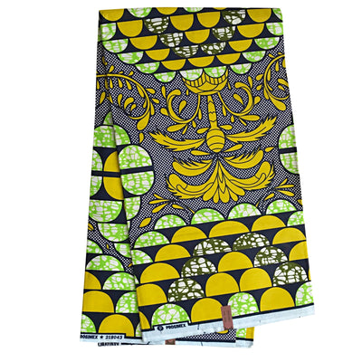 100% Cotton African Super Wax Fabric (6 yards) - citrus, white - Afrilege