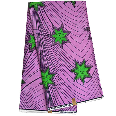 100% Cotton African Super Wax Fabric (6 yards) - Purple / Green - Afrilege