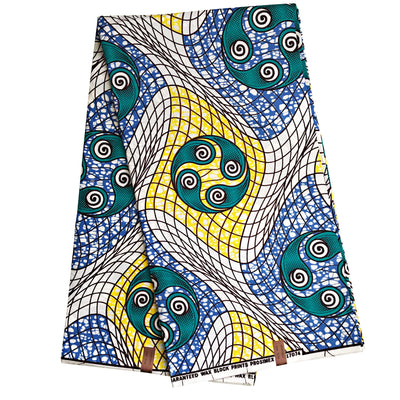 100% Cotton African Super Wax Fabric (6 yards) - Yellow / Blue / green / White - Afrilege