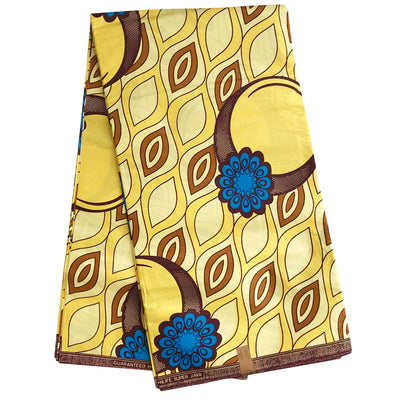100% Cotton African Wax Print Ankara Fabric (6 yards) - Yellow / Blue - Afrilege