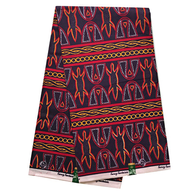 Fabric - 100% Cotton Bamenda Toghu African Fabric - Black / Red (6 Yards)