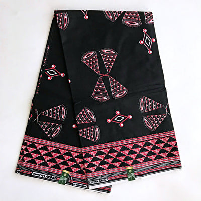 100% cotton Bamenda toghu Ndop African Print Fabric - Black / Red (6 yards) - Afrilege