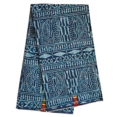 100% cotton Bamileke atoghu Ndop African Print Fabric - Navy blue / Gray (6 yards) - Afrilege