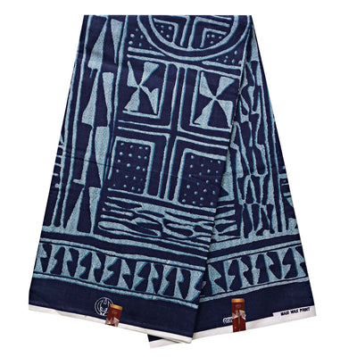 100% cotton Bamileke atoghu Ndop African Print Fabric - Navy / Gray (6 yards) - Afrilege