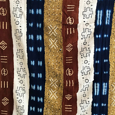 Multi-colored African Mudcloth Fabric from Mali - Yellow / White/ Rust/ Indigo - Afrilege