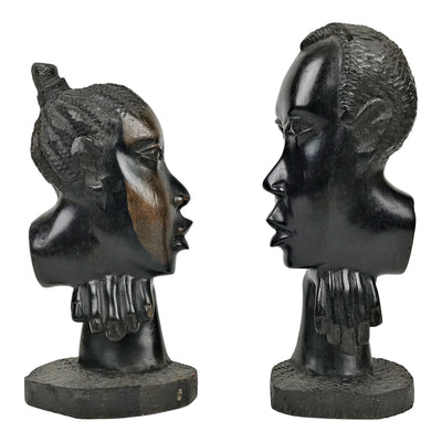 African Couple Ebony Wood Carved Sculpture ( set of 2) - Central African Republic - Afrilege