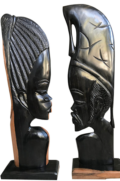 African Couple Ebony Wood Carved Sculpture statue ( set of 2) - Made in Cameroon - Afrilege