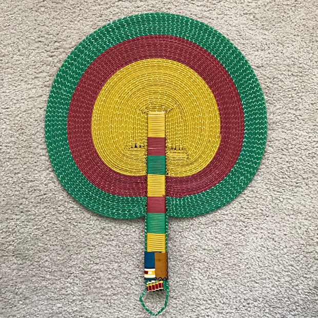 African woven hand fan from recycled plastics - Green / Red / Yellow - Afrilege