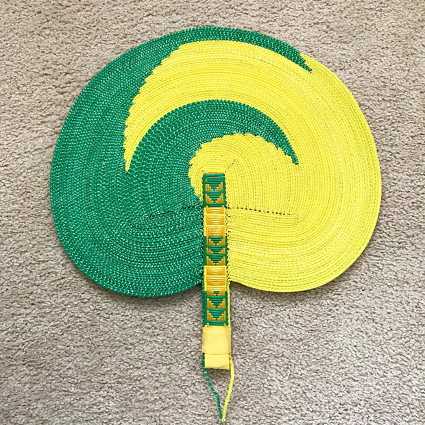 African woven hand fan from recycled plastics - Green / yellow - Afrilege