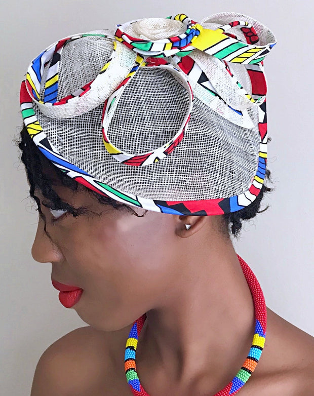African Print Fascinator hair clip hat - Blue/ Red/ White/ yellow - Afrilege